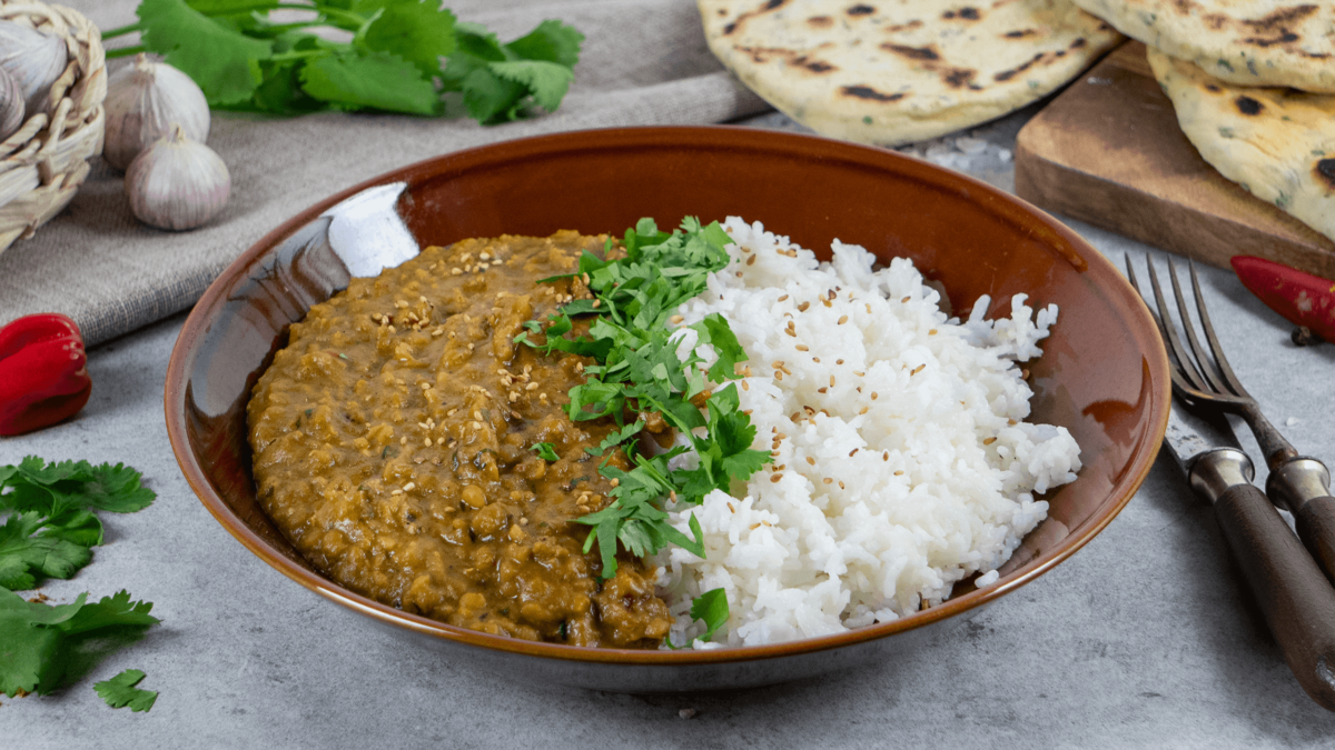 <b>Rezept:</b> Rote-Linsen Dal mit Basmati-Reis